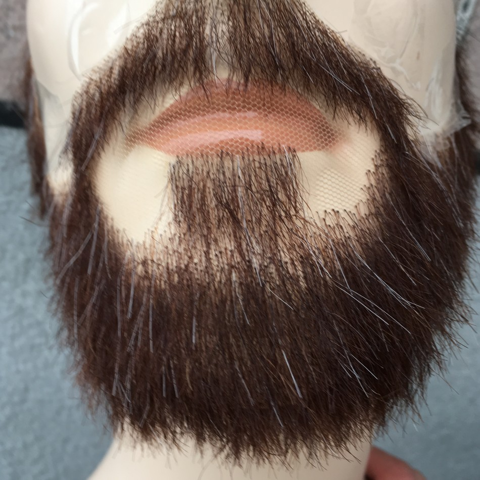 FXVIC New Arrival Dark Brown Mix With Grey Hair Beard Invisibility Celebrity Moustache And Full Beard Whiskers Free Shipping