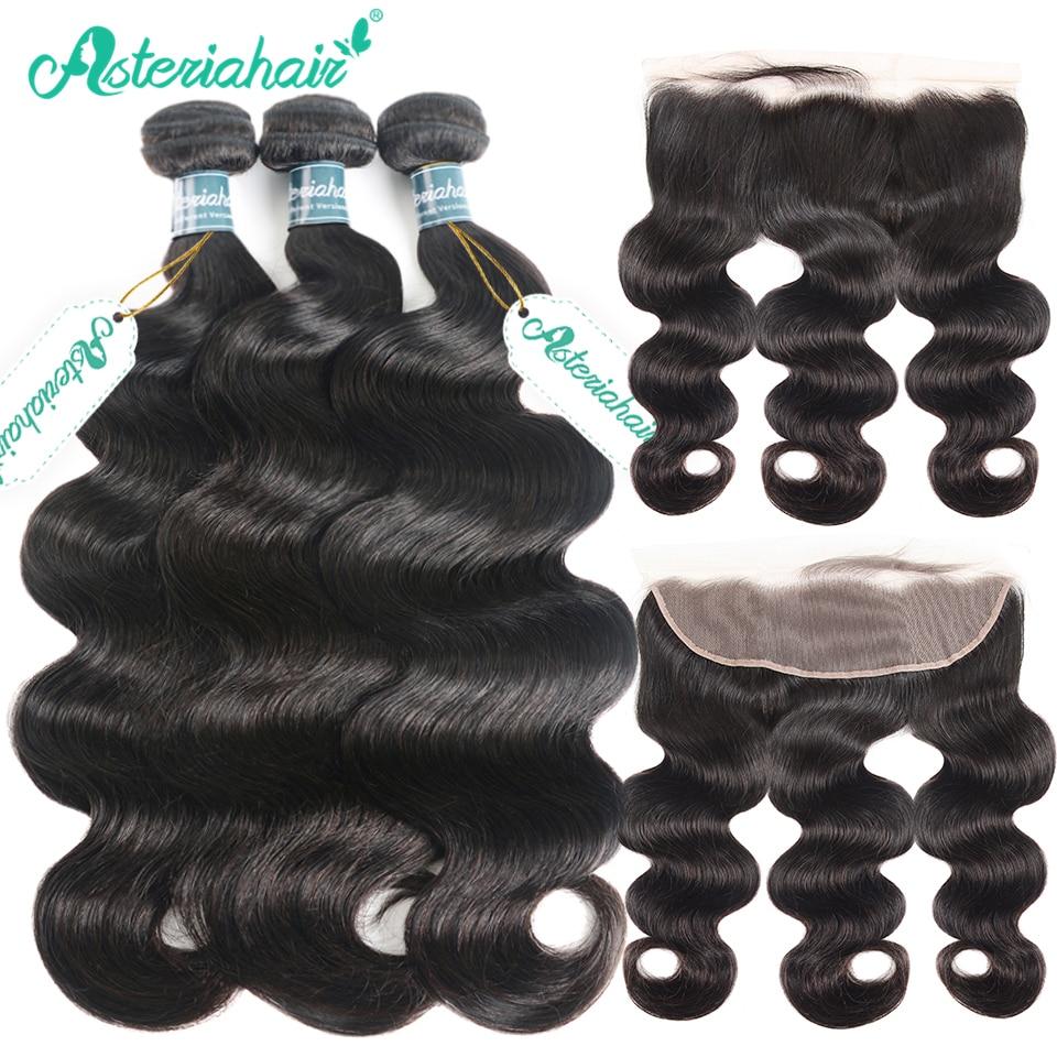 Human Hair Weaves Alipearl Human Hair Loose Wave Bundles With Frontal Pre Plucked Peruvian Hair Weave Bundles 3pcs Natural Color Remy Hair