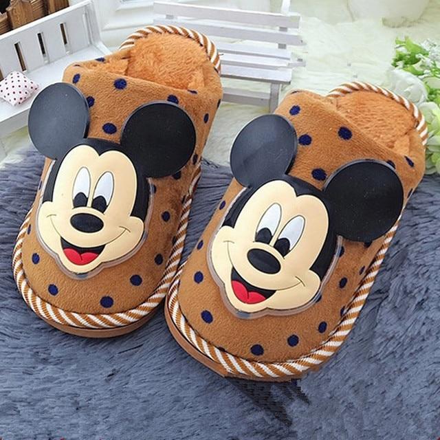 Kids baby Fashion Winter M-mouse Children Slippers Kids Girls Boys Warm Shoes Cartoon Plush Slippers Home Shoes Children Slipper