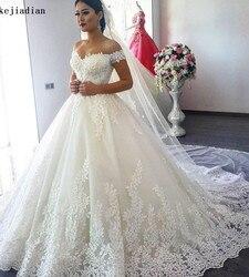 Plus size vestido de noiva de renda cheia de luxo vestidos de noiva 2019 robe de mariage mid-east vestido de noiva de renda de princesa