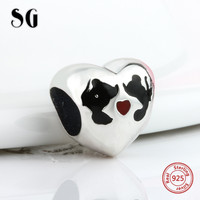 SG 925 אהבה מקורית כסף קסמי לבבות פנדורה אותנטי יוקרה אירופאית fit קסמי צורת קסמי תכשיטי ביצוע צמיד מתנה