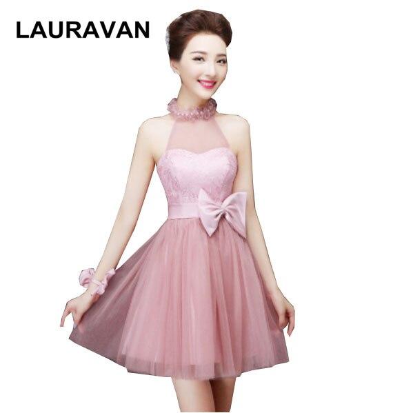 cute girls elegant short blush pageant tulle robe de soiree puffy halter neck   bridesmaid     dresses   halter appliques girl   dress