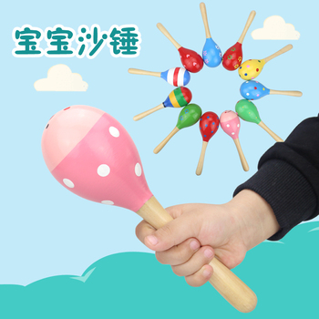 Baby toy doll musical instrument wooden rattle baby child shake music gift ballot