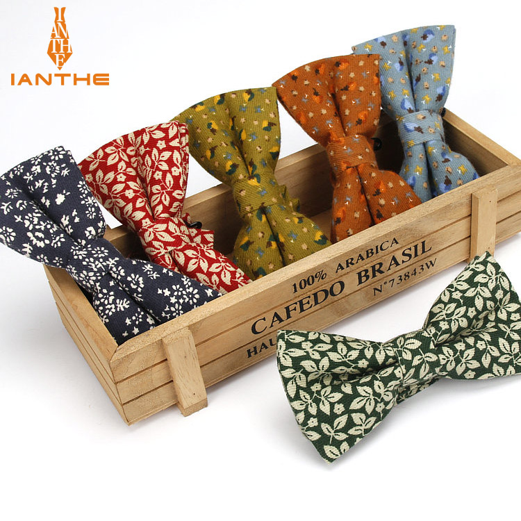 Ianthe Men's Bowtie Fashion Flower Printed Bowties Neckwear Adjustable Man Wedding Bow Tie Male Cotton Butterfly Gravatas
