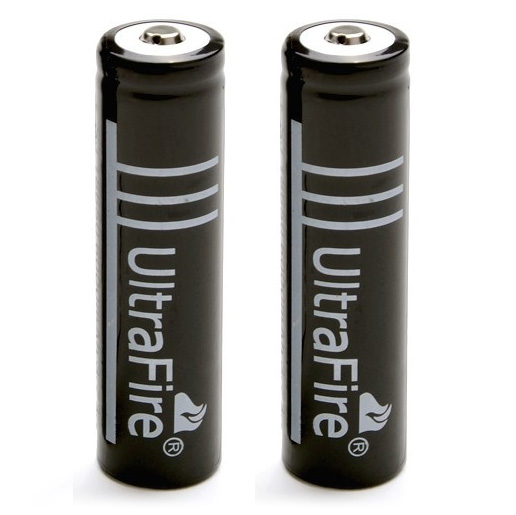 New 2pcs 18650 3 7V 1250mAH Lithium Rechargeable Black Battery