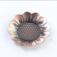 1PC Alloy Red Bronze Sunflower Teacup Mat Diameter 9.5cm Vintage Style Copper Decorative Teacup Holder Chinese Puer Tea Set(China)