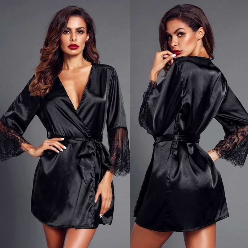 2019 Women <font><b>Sexy</b></font> <font><b>Lingerie</b></font> Silk Lace Crochet V-neck Lace Up Babydolls Nightdress Black White Nightwear Sleepwear image