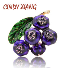 CINDY XIANG Enamel Blueberry Brooches for Women Fashion Fruit Brooch Pin Painting Jewelry Kids Accessories New Arrival