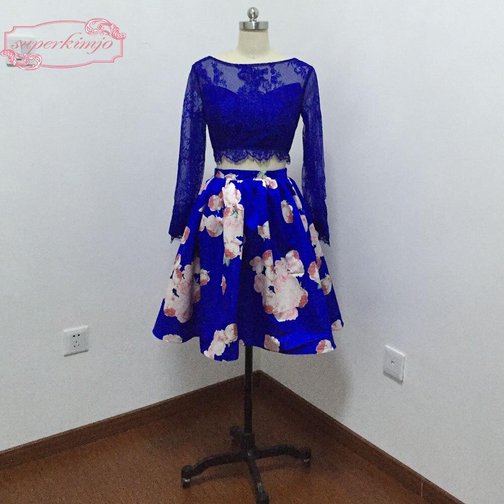 Deux pièces robes de bal robes de retour encolure ras du cou dentelle impression courte robes d'obtention du diplôme photo réelle