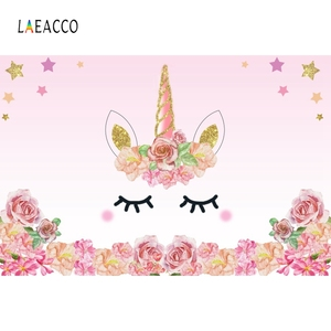 Image 2 - Laeacco unicórnio backdrops para festa de aniversário céu rosa flores estrelas arco íris chá de fraldas fotografia fundos para estúdio de fotos