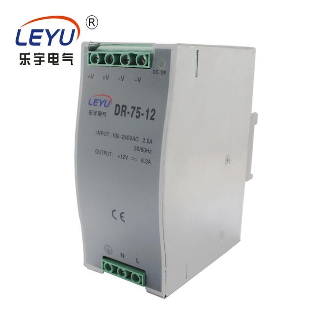 CE RoHS Certification DR 75 12 DIN RAIL series single output PSU 75w ...