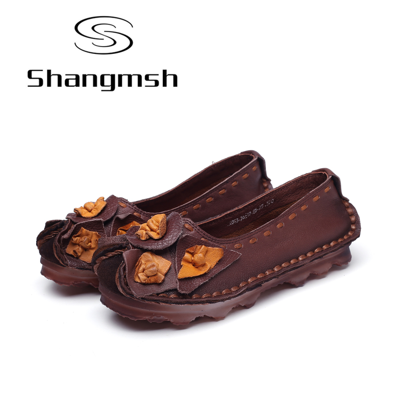 Shangmsh Plus Size Women's shoes 2017 Genuine Leather Slip On Casual Shoes Cow Muscle Soft Shallow Women Loafers Ballet Flats new fashion luxury women flats buckle shallow slip on soft cow genuine leather comfortable ladies brand casual shoes size 35 41