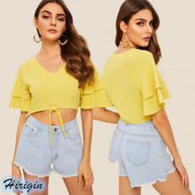 Summer Casual Women Tops 2019 New Short Butterfly Sleeve V Neck Yellow Crop Chiffon