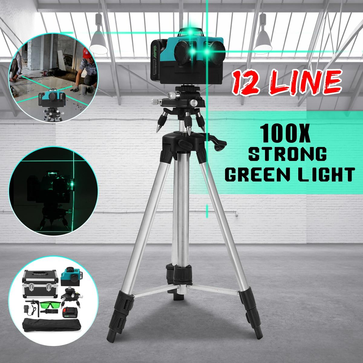 12 линия 100 xStrong зеленый свет 3D лазерный уровень мера 360 Вертикальные Горизонтальные наливные крест лазерный луч линии ж/штатив Стенд