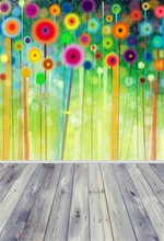 Laeacco Colorful Flowers Painting Wall Wooden Floor Photography Backgrounds Customized Photographic Backdrops For Photo Studio