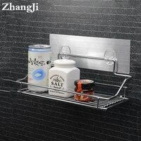 Hot Stainless Steel Bathroom Shelf Traceless Adhesive Tape Storage Holder Hanging Organizer Basket Bathroom Accessories ZJ123