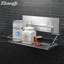 Hot Stainless Steel Bathroom Shelf Traceless Adhesive Tape Storage Holder Hanging Organizer Basket Bathroom AccessoriesZJ123