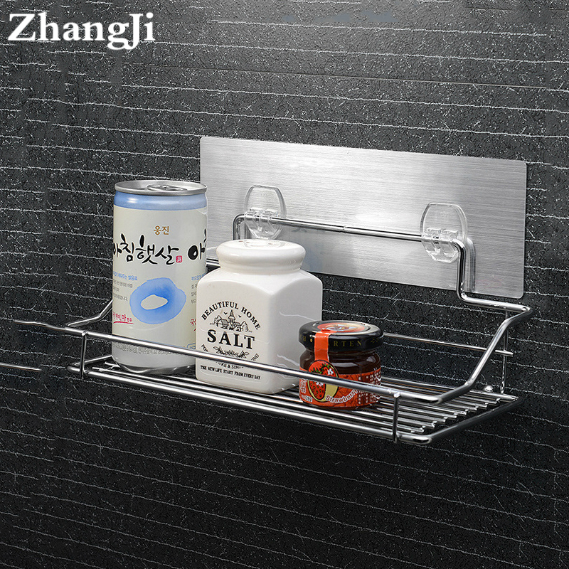ZhangJi Hot Stainless Steel Bathroom Shelf Traceless Adhesive Tape Storage Holder Bathroom Accessories Hanging Organizer Basket