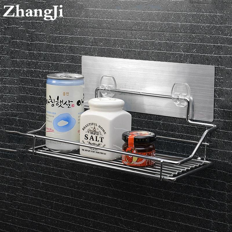 ZhangJi Hot Stainless Steel Bathroom Shelf Traceless Adhesive Tape Storage Holder Bathroom Accessories Hanging Organizer Basket