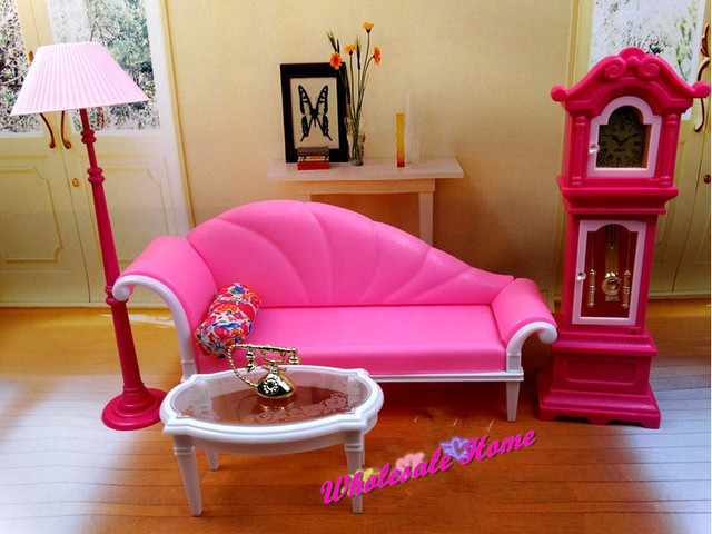 Pink Sofa Floor Lamp Clock Set / Dollhouse Living Room Furniture ...