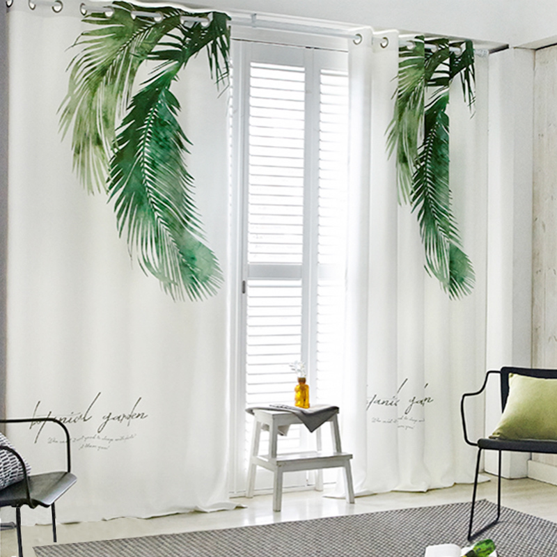 RZCortinas Nordic Simple And Modern Shading Curtain Tropic Plant Leaves Blinds For Living Room Popular Natural Style Gauze Tulle