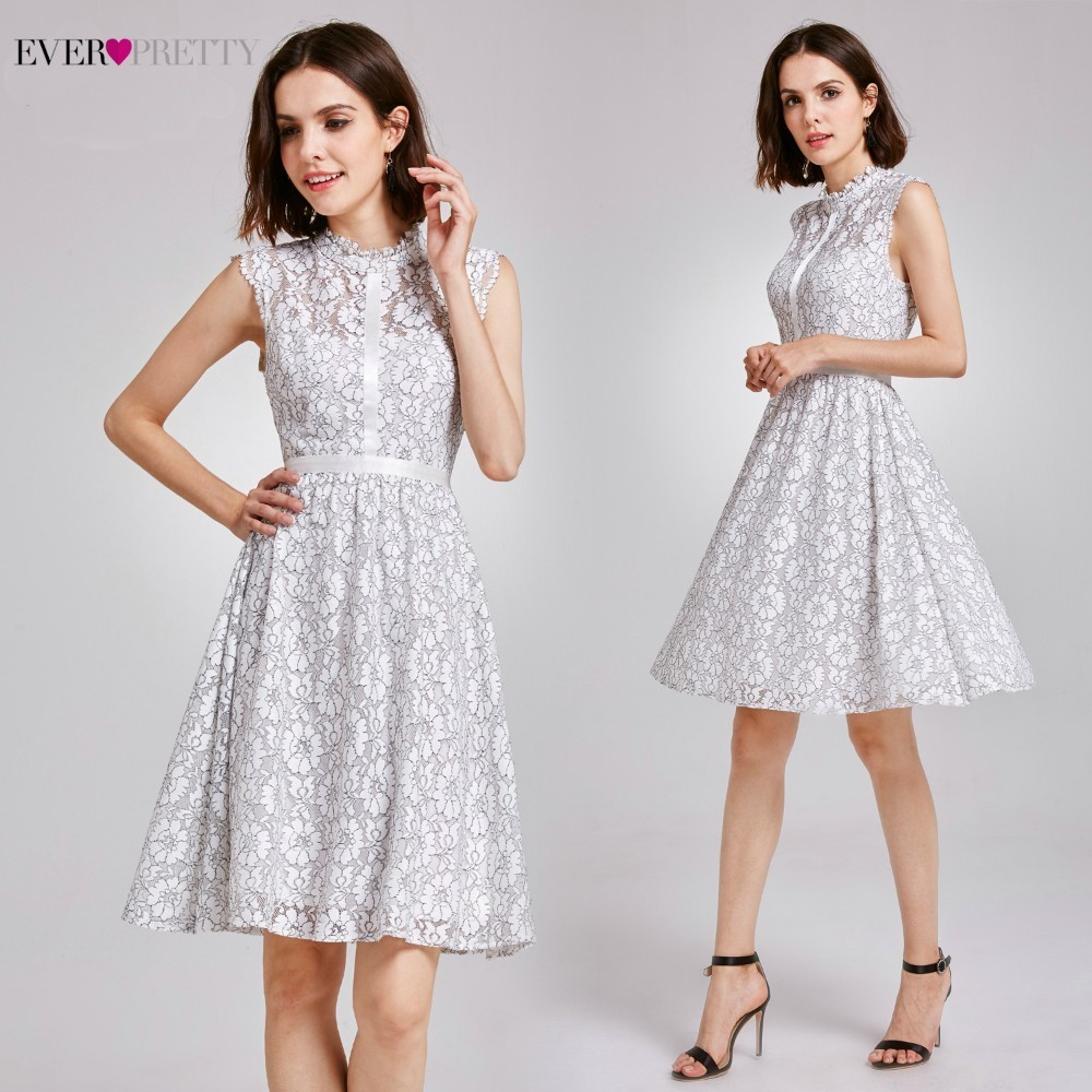 Elegant Lace Women   Cocktail     Dresses   2019 Ever Pretty AS05867WH A-Line Hollow Out Summer Holiday Party   Dresses   Robe   Cocktail