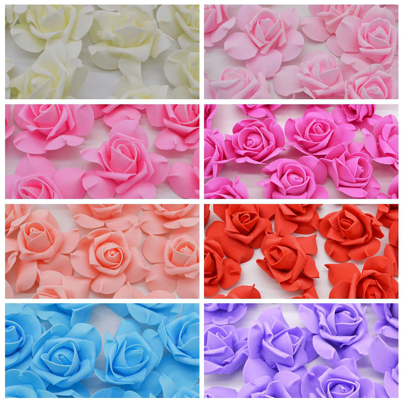 8cm 20Pcs/lot PE Foam Rose Artificial Flower Heads DIY Pompom Wreath Can Use For Home Car Valentines day Fake Flowers Decor 8Z