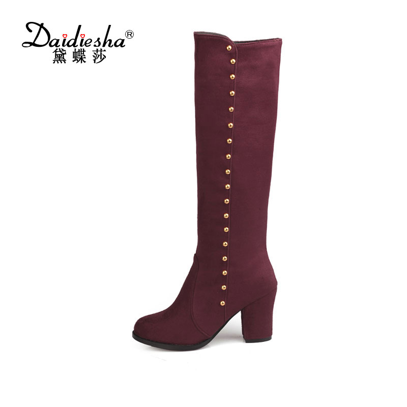 Daidiesha Women Faux Suede Thick High Heel Knee High Boots Pointed Toe Zip Riding Equestrian Winter Shoes Woman Rivets Knee Boot enmayla winter autumn round toe low heel knee high boots women flats lace up shoes woman rider brown black suede motorcycle boot