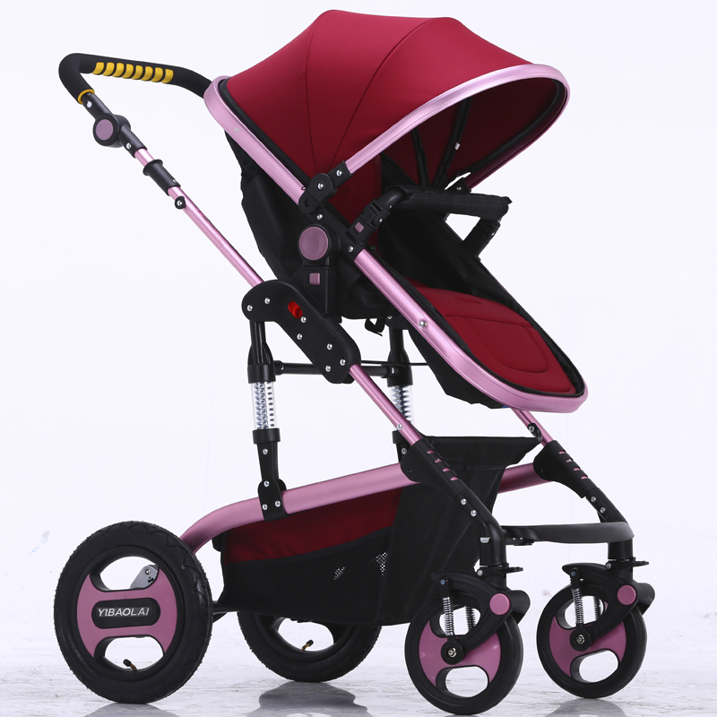Ebola high landscape baby stroller can sit and lie the shock four round BB baby stroller bidirectional folding cart