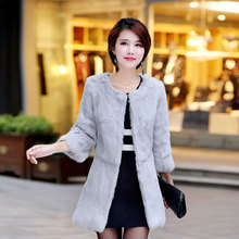 Winter jacket women natural fur rabbit coat female Korean version of the long section 2019 autumn and winter