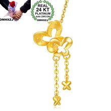 OMHXZJ Wholesale European Fashion Woman Girl Party Wedding Gift Butterfly Tassel 24KT Yellow Gold Pendant Necklace NA185 все цены