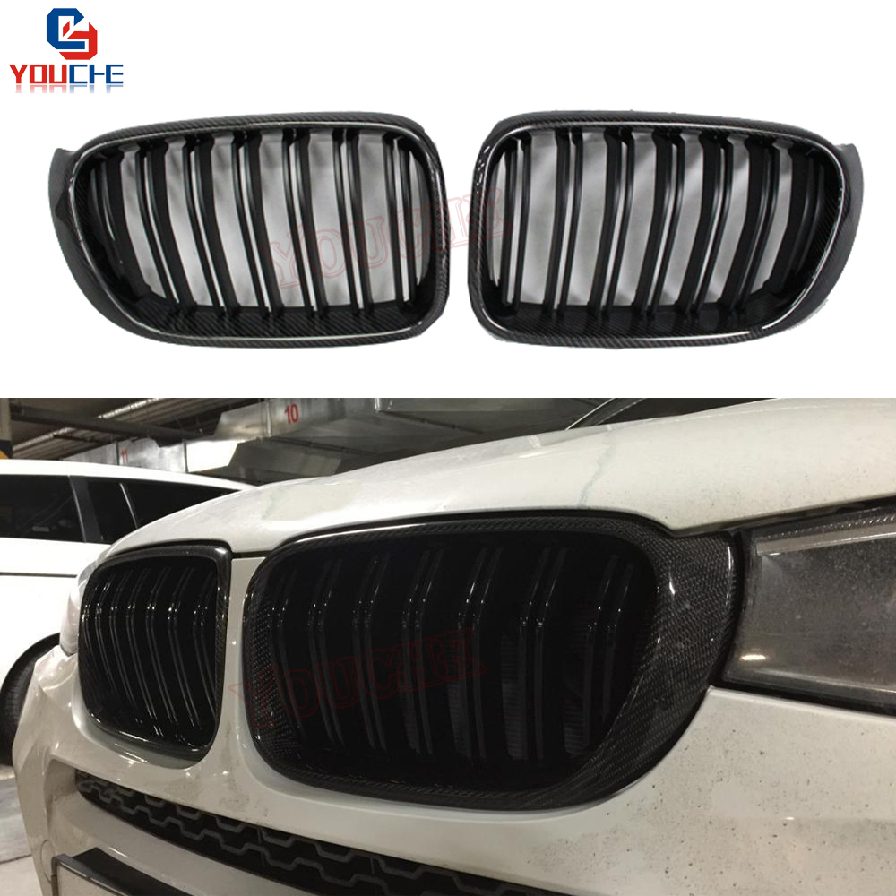 X3 X4 Facelift Carbon Fiber Front Hood Grille For BMW X3 X4 F25 F26 2014 2018 5 door SUV Replacement Racing Grills