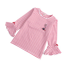 Autumn And Winter Long Sleeve Girls T-shirts Striped Baby Girl Clothes Petal Sleeve Girl T Shirt Casual Tops 2-6year цены