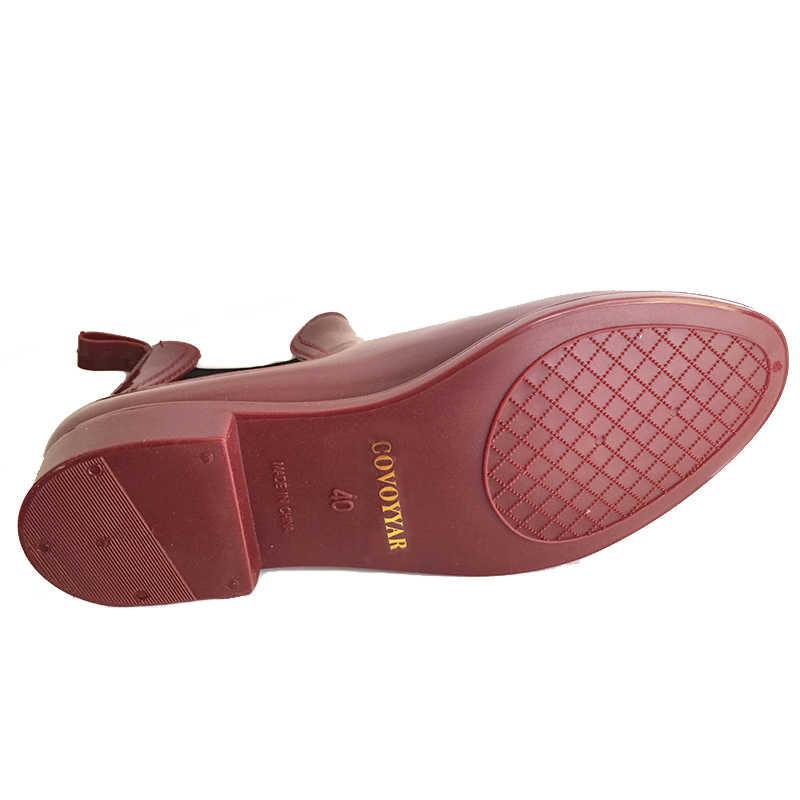 Gummi Stiefel 2019 Wasserdicht Trendy Gelee Frauen Ankle Regen Boot Elastische Band Einfarbig Regnerischen Schuhe Frauen WBS42