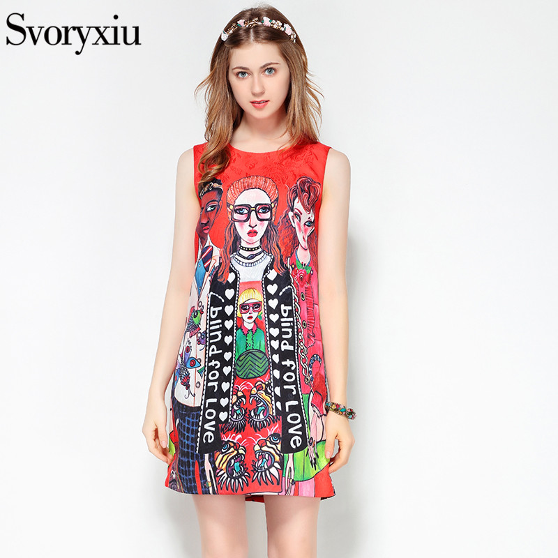 Image 3 - Svoryxiu 2019 designer de moda verão sem mangas vestido curto das  mulheres dos desenhos animados personagem carta impressão jacquard  vermelho mini vestidoVestidos