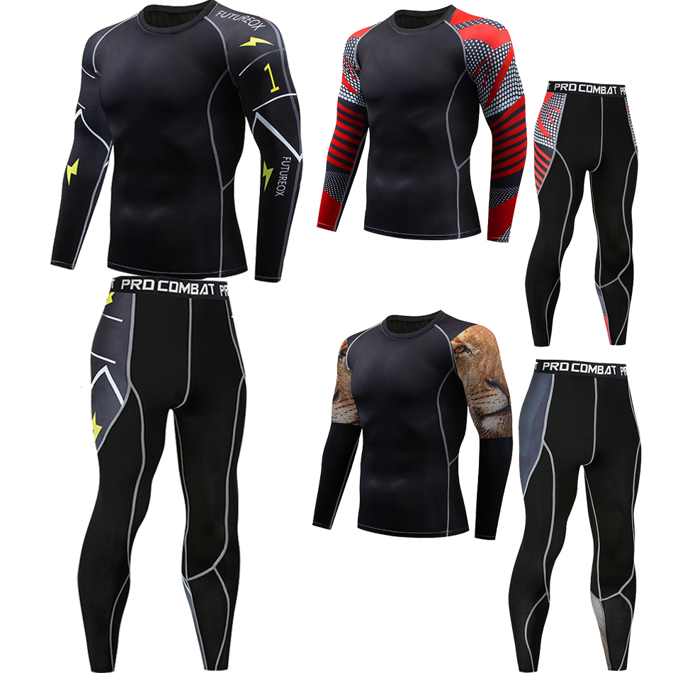 Rashguard Jiu Jitsu Mma T-shitrts Pants Bjj Kickboxing Tiger Muay Thai Boxing Jerseys Set Long MMA Rashguard Sport Gym Clothes
