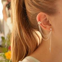 Women Fashion Punk Rock Leaf Jewelry Earrings Tassel Dangle Ear Cuff Wrap Long Earrings Chain Metal Texture Earrings Jewelry a suit of retro metal leaf tassel necklace and earrings for women