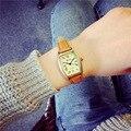 2016 de Cobre de la vendimia Romano de cuarzo Rectangular reloj de Señoras vestido reloj de pulsera de Alta calidad de Cuero de las mujeres del relogio feminino