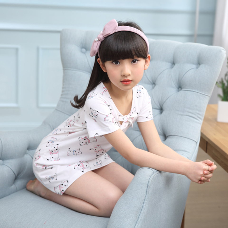 e6664df27c75 JIFANYX Girls Home Clothes Cotton Baby Girls Nightgowns Dress Summer ...