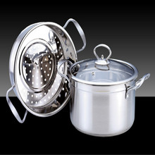 Kitchen Cooking Tools Double Soup Steamer Thick Stainless Steel Steamer Binaural Composite Multi-layer Bottom Non-stick Pan