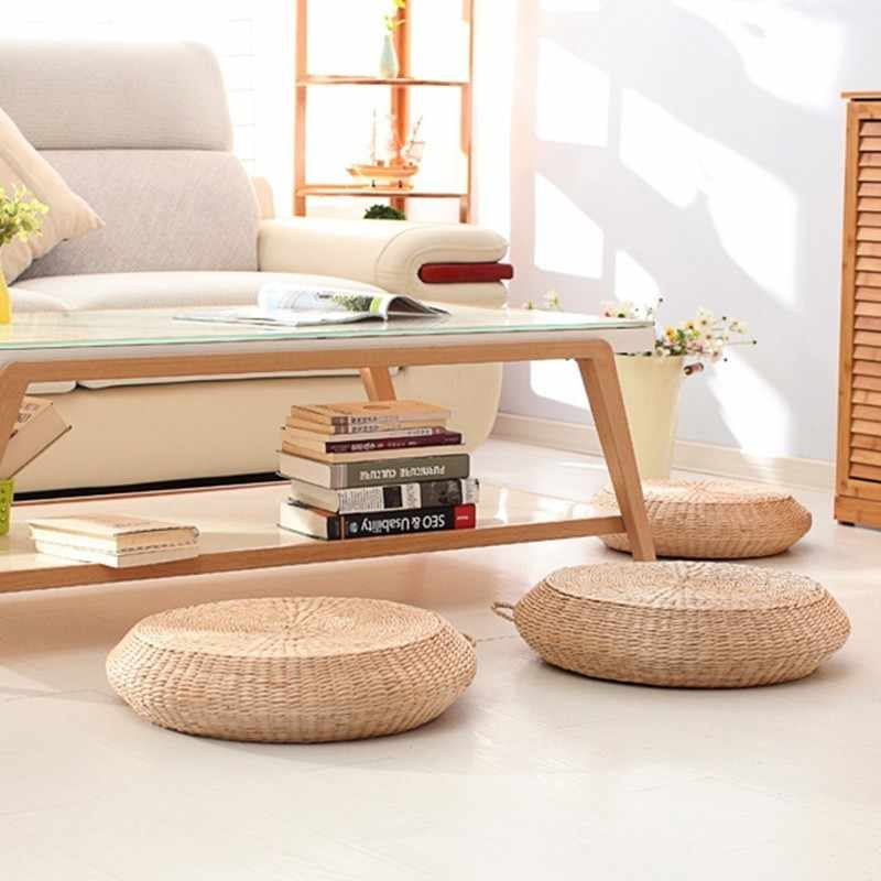 HOT SALE Tatami Cushion Round Straw Weave Handmade Pillow Floor Japanese Style Yoga Chair Sofa Adult Child Home Seat Mat 40/45cm