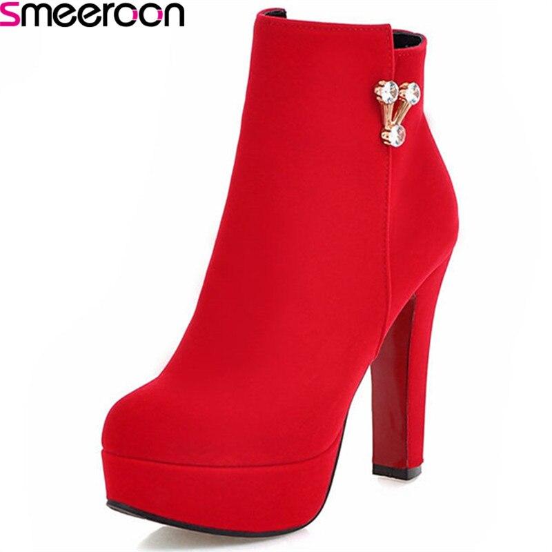 Del Tobillo Invierno Black Para rojo Smeeroon light Las Zapatos Botas Blue Plataforma Zip Otoño Dedo Tacones Popular Redonda Super Mujeres Pie 07SqSUw5