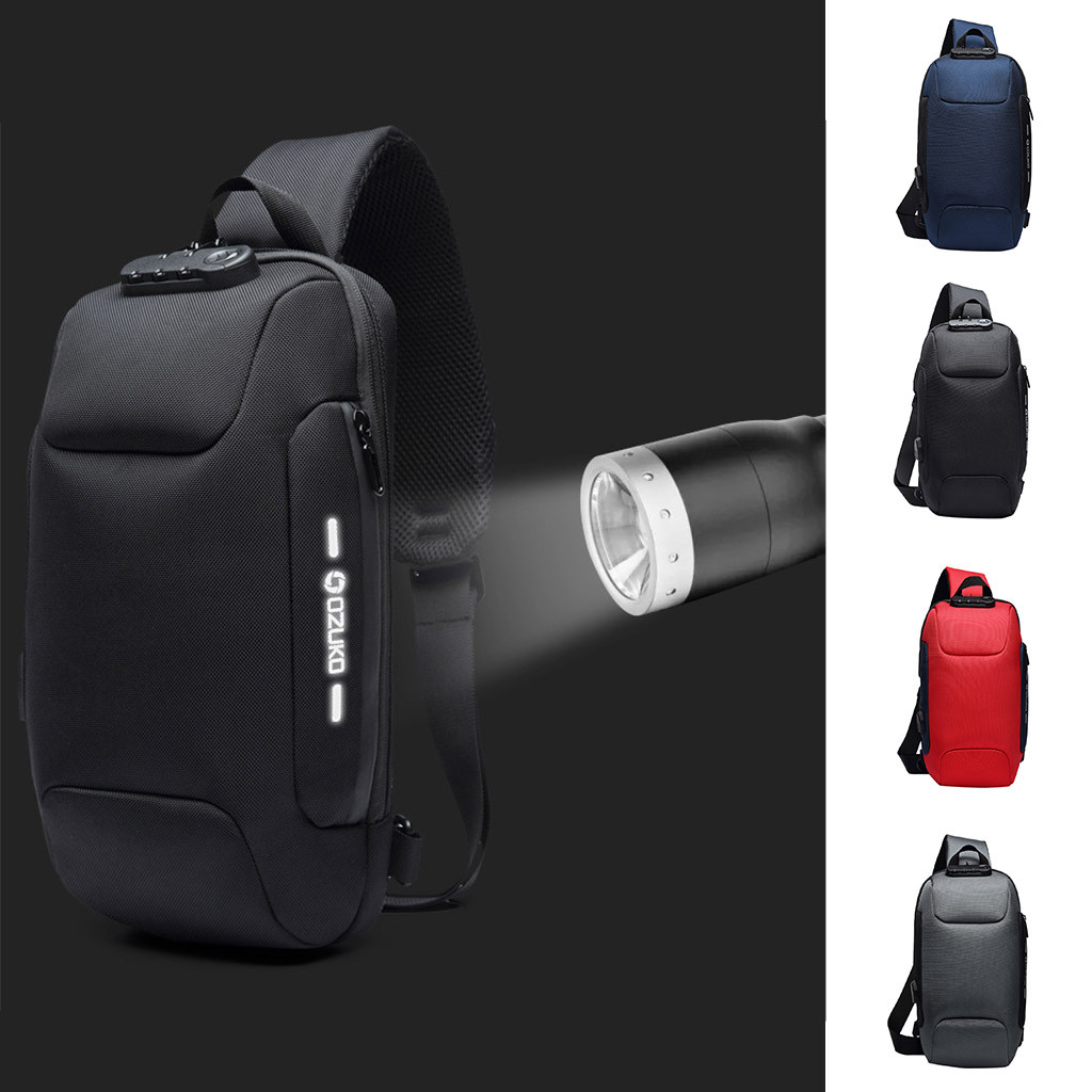 2019 Fashion Casual Summer OZUKO Men's Multi-function Messenger Bag Anti-theft Waterproof Travel Chest Bag Shoulder Outdoor Bag