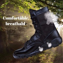 Men's Waterproof Tactical Boots Military Boots Breathable Lightweight Combat Boots Male High-top Outdoor Leather Hiking Boots