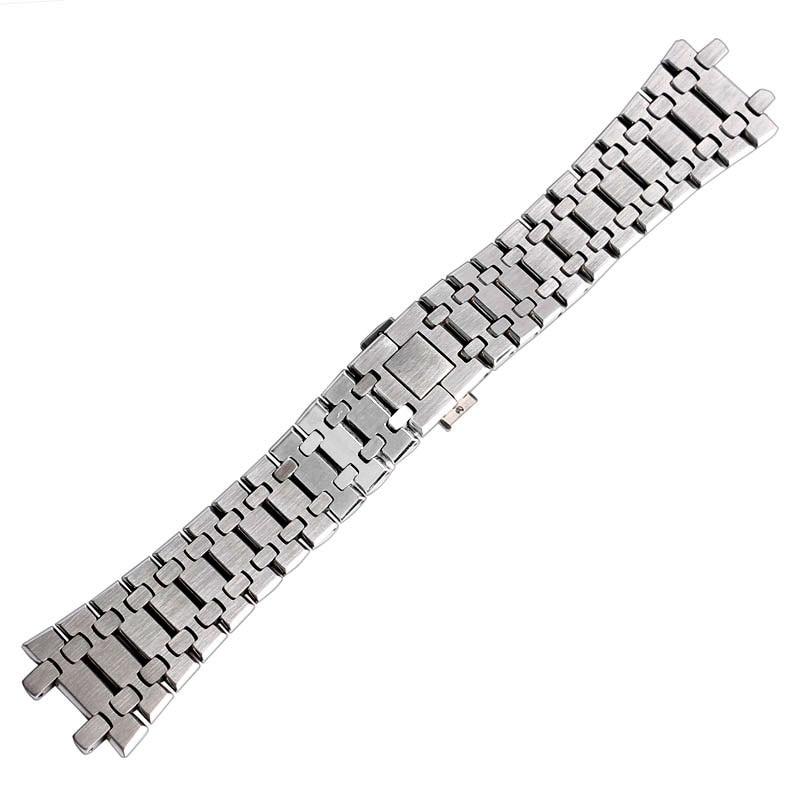 Bracelet à bouton-poussoir 28mm avec boucle papillon + 2 barres à ressort pour montre AP pour hommes en acier inoxydable Bracelet en argent