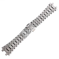Watchband 28 mm Push Button Bracelet Butterfly Buckle + 2 Spring Bars For AP Watch Men Stainless Steel Silver Wrist Band Strap