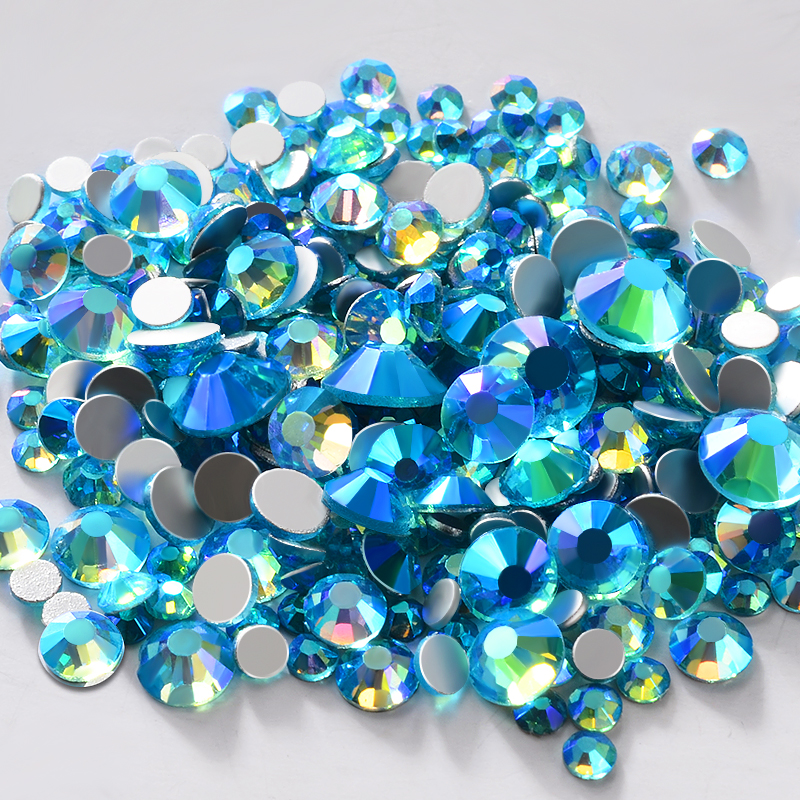 Aquamarine AB Color Glass Nail Art Rhinestone Decorations SS6-SS20 Crystal Wedding Dress Shoes Garment Accessories Manicure Tool