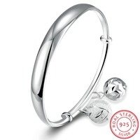 Free Shipping 925 Sterling Silver Jewelry Bangle Fine Fashion Double Ball Pendant Adjustable Cuff Bangles Wholesale