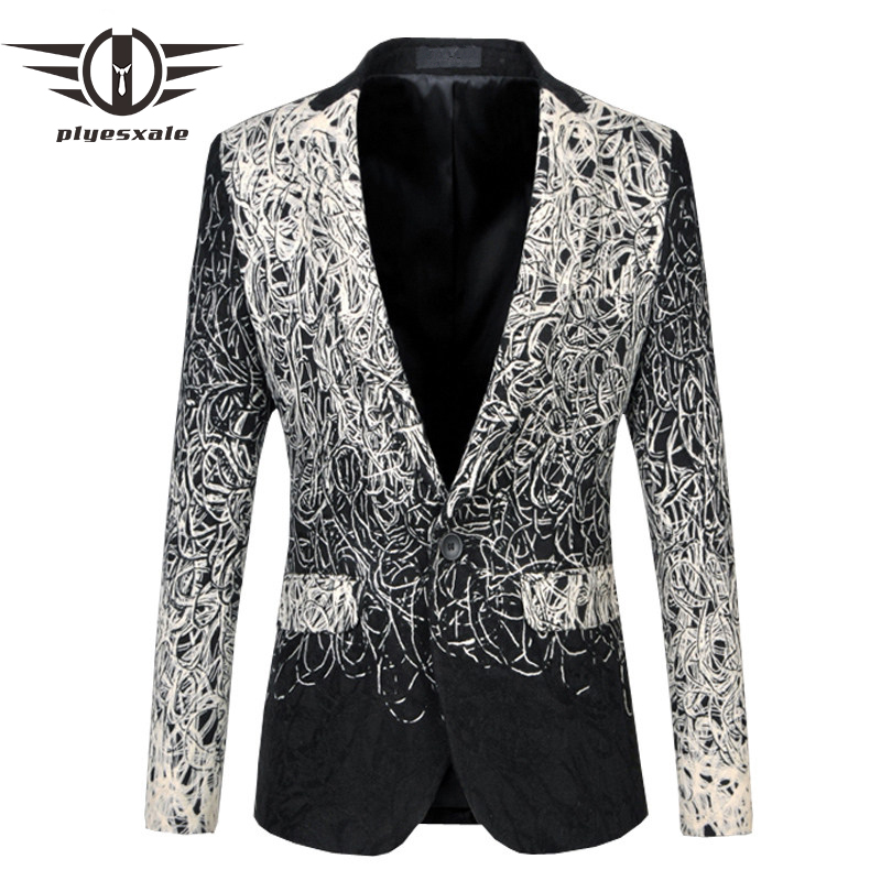 Plyesxale Blazer Men 2018 Unique Mens Blazers Luxury Brand 5XL 6XL Plus Size Mens Floral Blazer Vintage Casual Suit Jacket Q19
