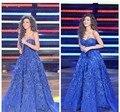 Alfombra roja se Viste 2017 vestido de Bola Azul Real Apliques Barato Famosa Imitación Árabe Cantante Myriam Vestidos de La Celebridad